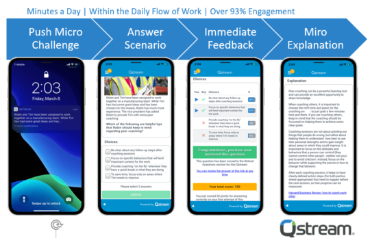Bite-sized chunks of mobile learning through Qstream